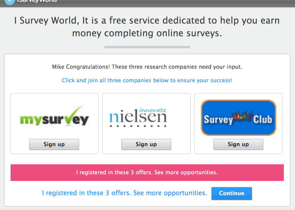 iSurveyWorld Sign up