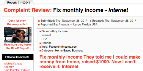 Fix Monthly Income review