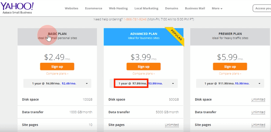Yahoo Hosting Pricing