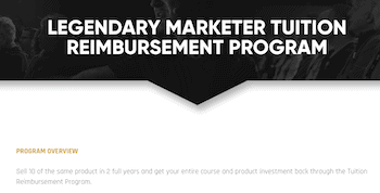 Legendary Marketer reimbursement program