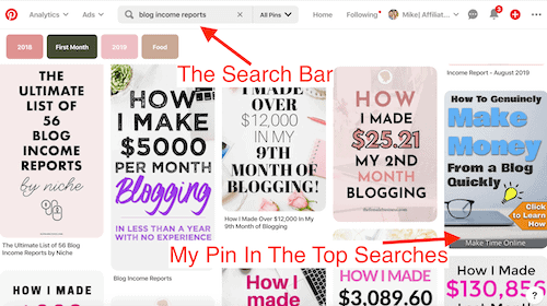 Pinterest search bar- Make $1,000 a month online