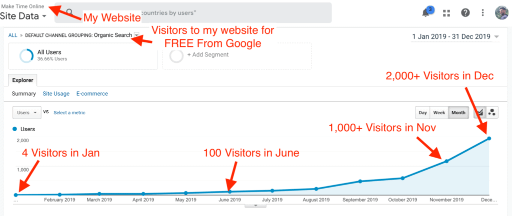 Visitors from Google each month