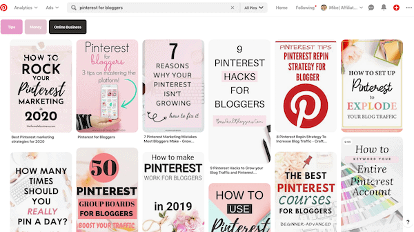Pinterest for bloggers search