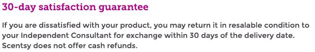 Scentsy  guarantee