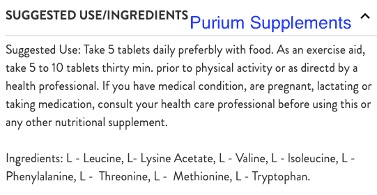 Purium ingredients