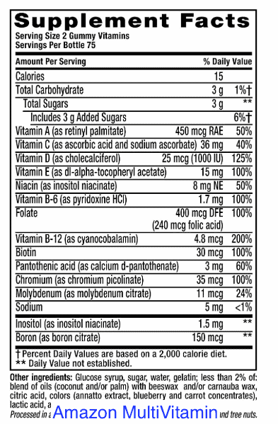 Amazon Multivitamin nutrition facts-min