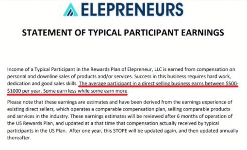 Is Elepreneurs a scam- income disclaimer-min