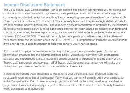 JIFU Travel Review: Income Disclosure