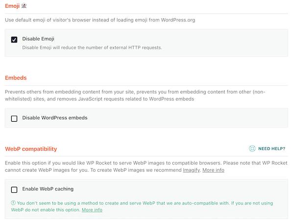 WP Rocket Emoji Embed WebP compatibility