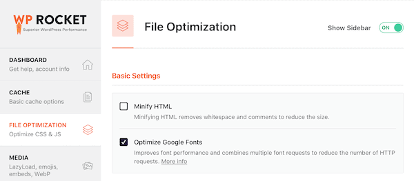 WP Rocket Plugin Review - File Optimization