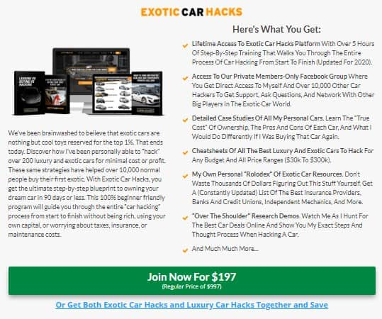 Is Exotic Car Hacks a Scam: Cost