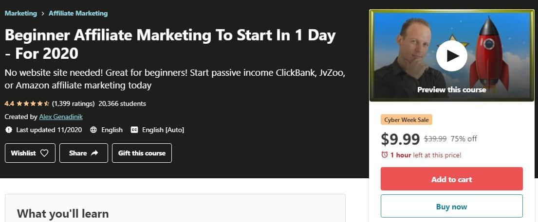 Udemy Affiliate Marketing in One Day Review: Intro