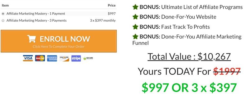 Stefan James Affiliate Marketing Mastery Review: Cost