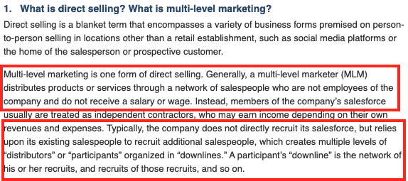 FTC- Direct Selling vs MLM
